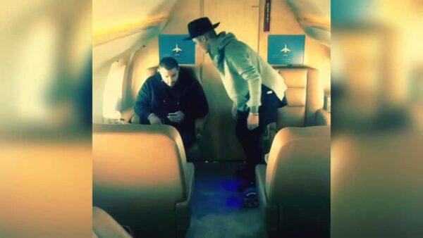 justin bieber hoverboarding on a plane