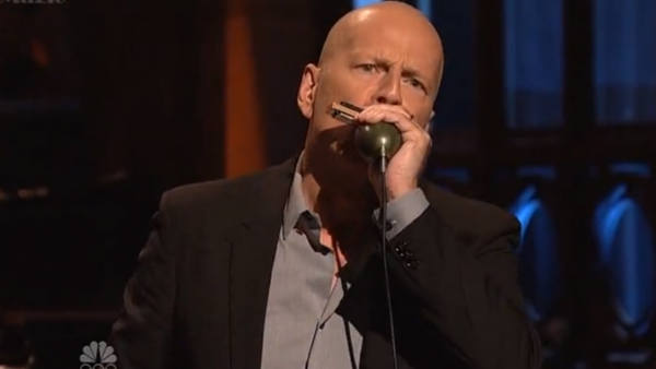 Bruce Willis Playing Harmonica