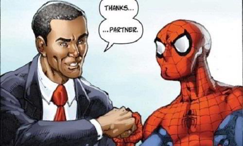 Spiderman Meets Barrack Obama