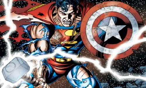 Superman Lifts Captain America's Shield and Thor's Hammer