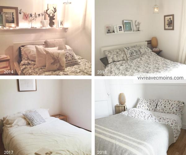 chambre à coucher, processu désencombrement, minimalisme