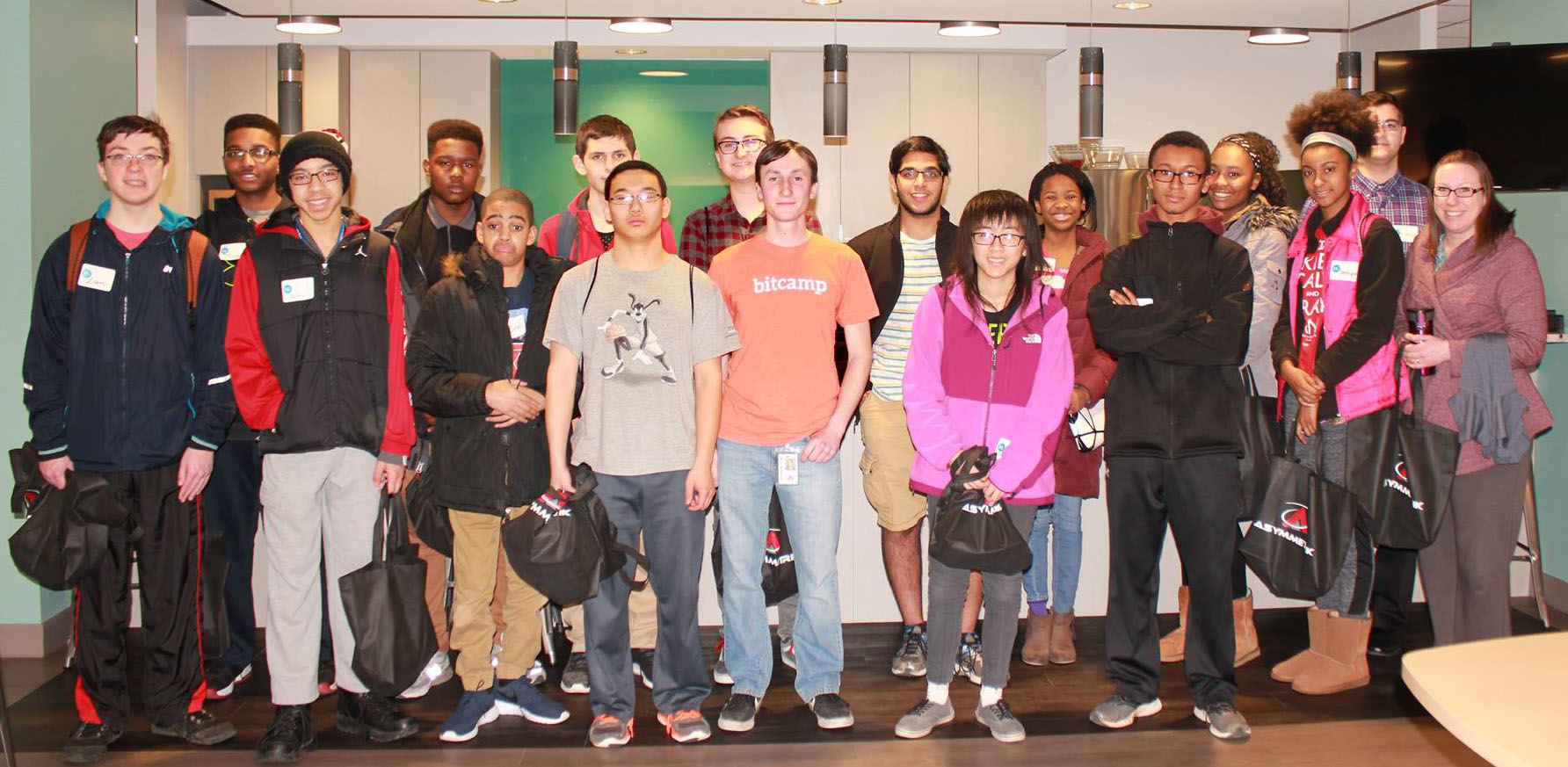 HiTech students from Howard County Library System visit Asymmetrik's office