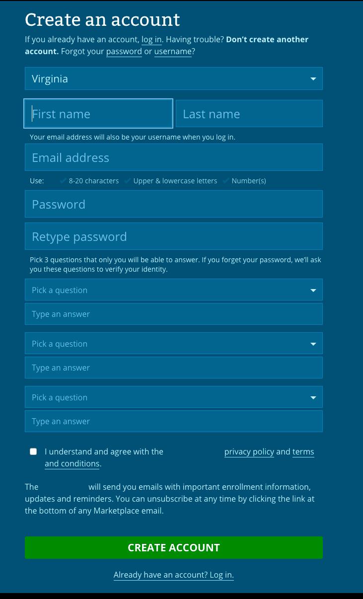 Federal Healthcare Insurance Marketplace Registration Form