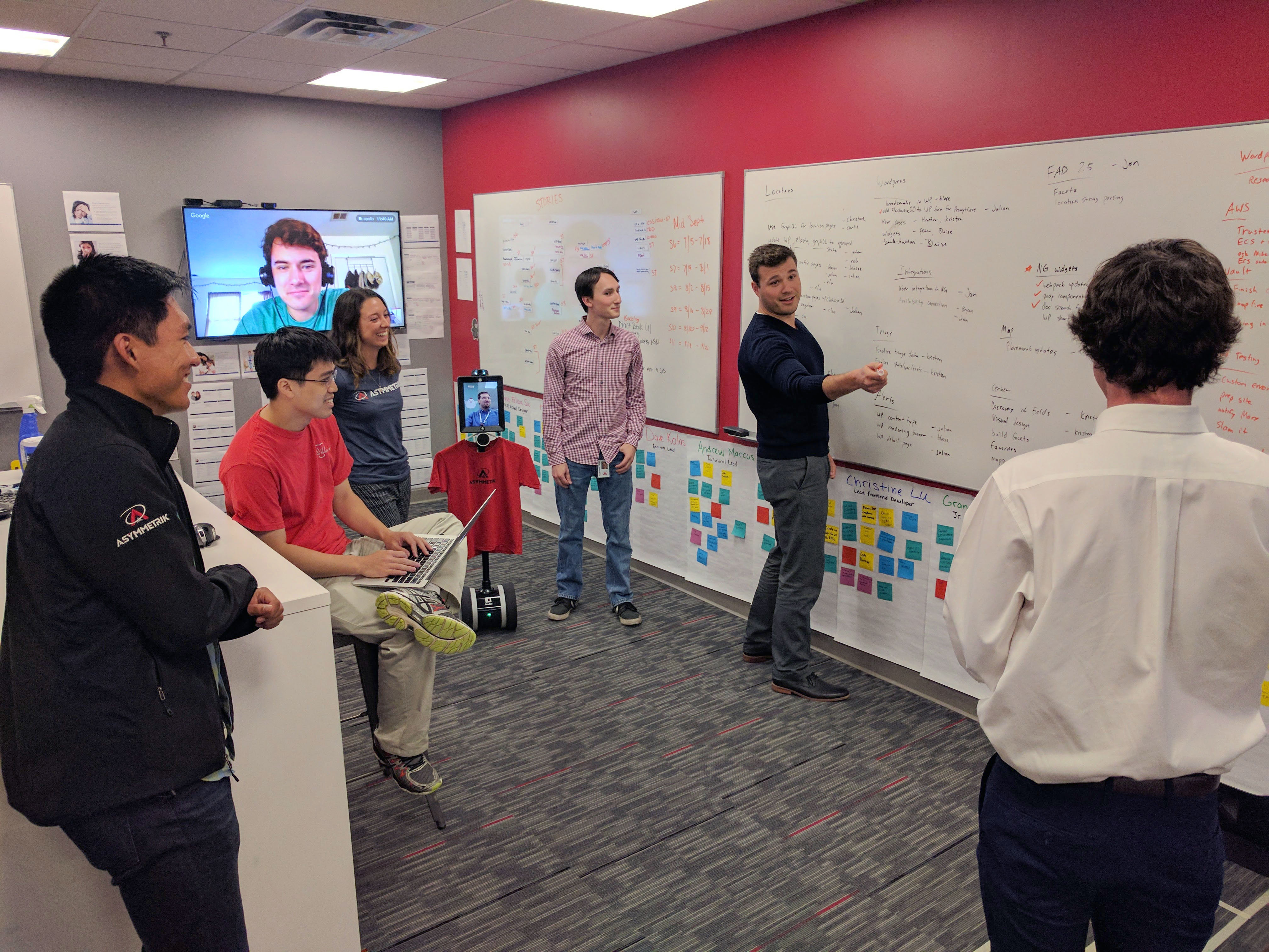 Software engineers working together at whiteboard