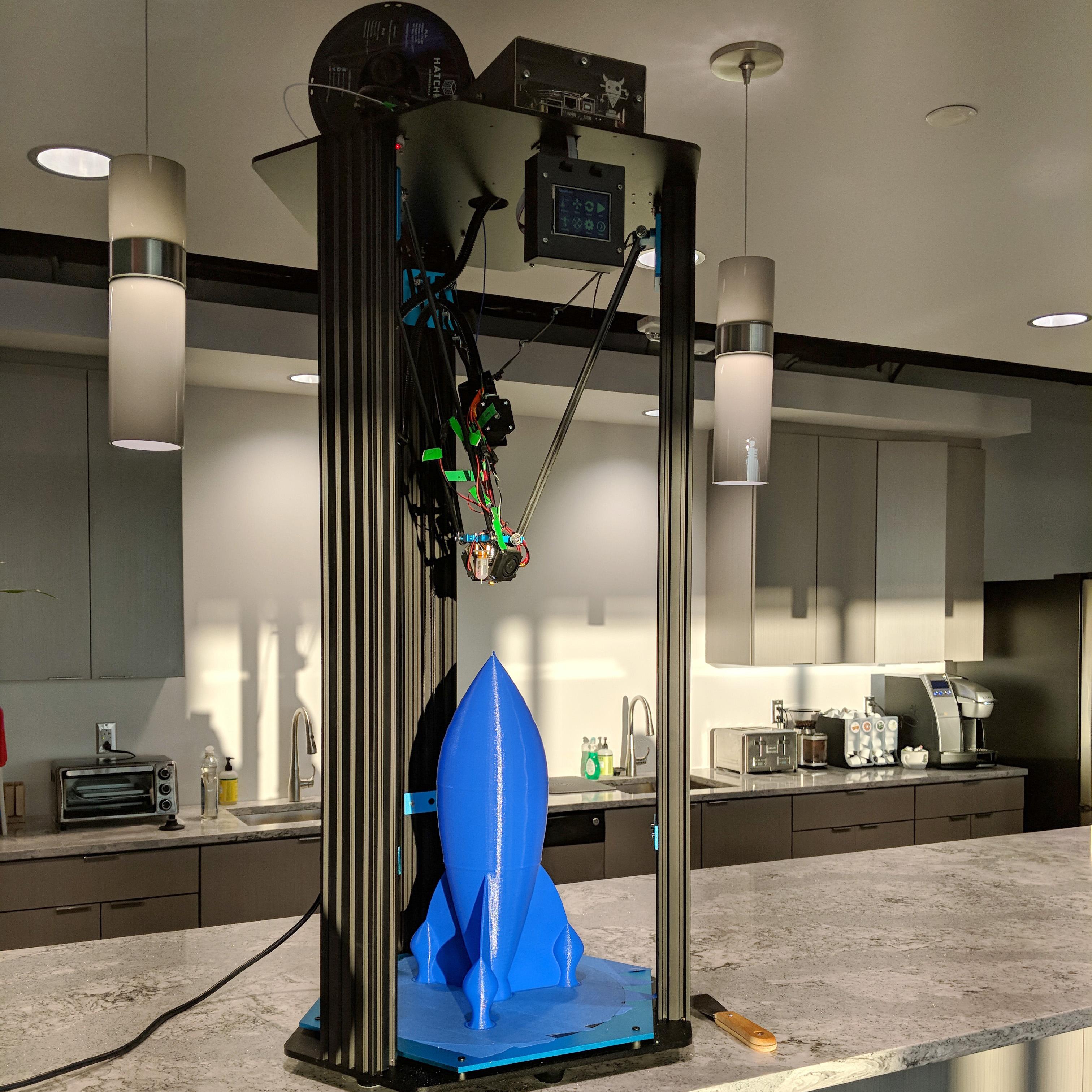 3D Printer blue rocketship