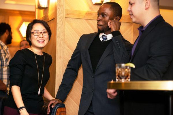 Man in suit dancing woman smiling