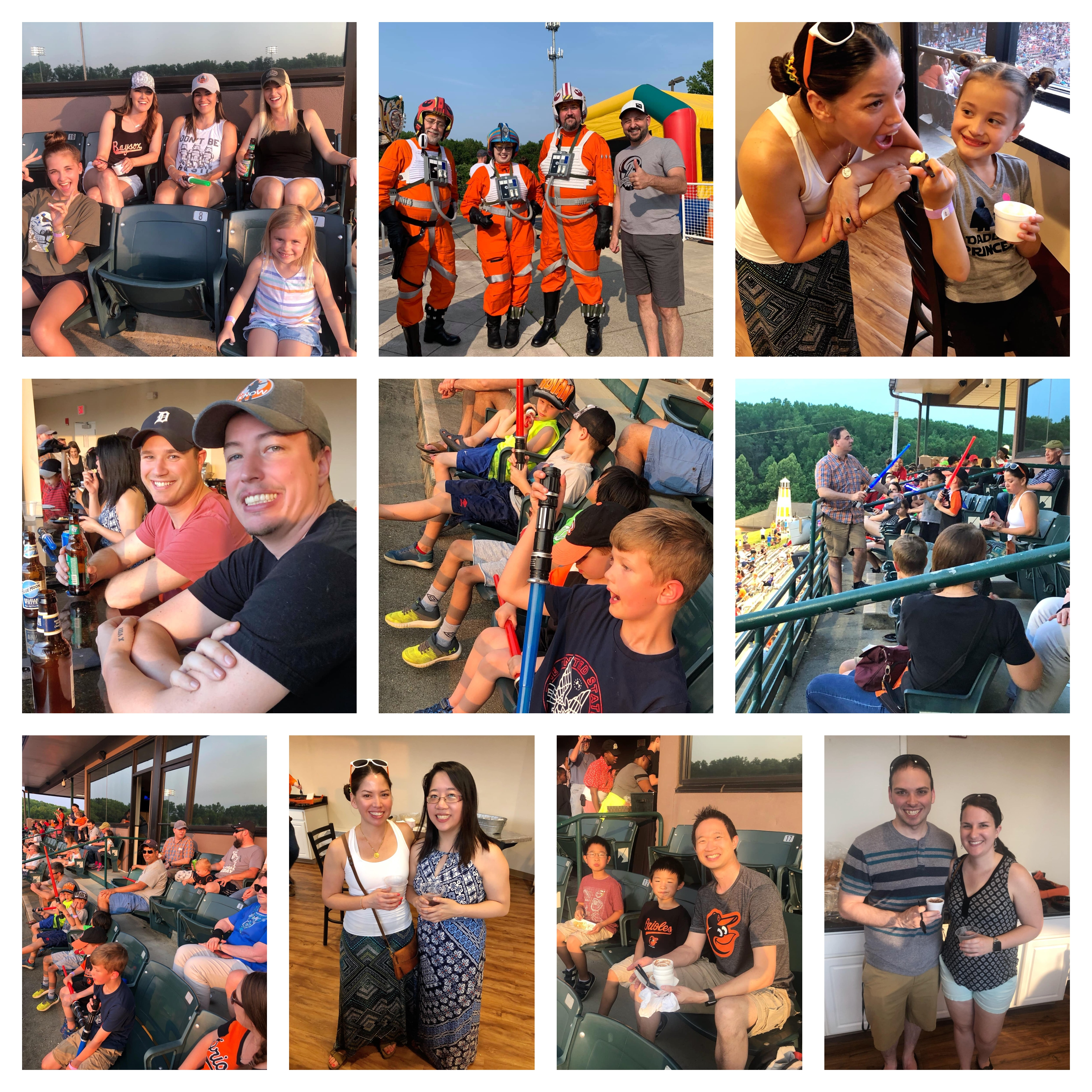 Asymmetrik employees and families at Bowie Baysox Star Wars Night