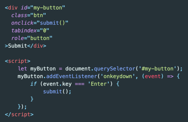 HTML button now includes JavaScript event listener to allow the Enter key to click the button, about 14 total lines of code