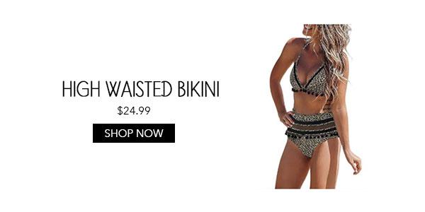 High Waisted Leopard Pom Pom Bikini