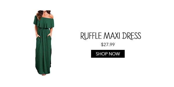Ruffle Off the Shoulder Maxi Dress Amazon