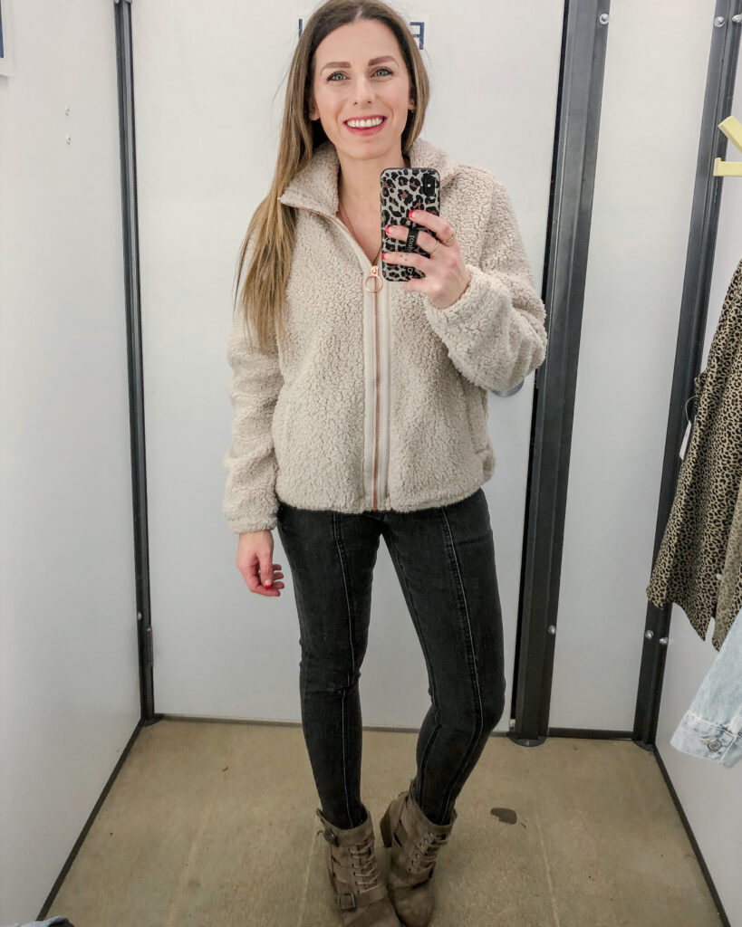 Blush Rose Gold Zip-Up Sherpa