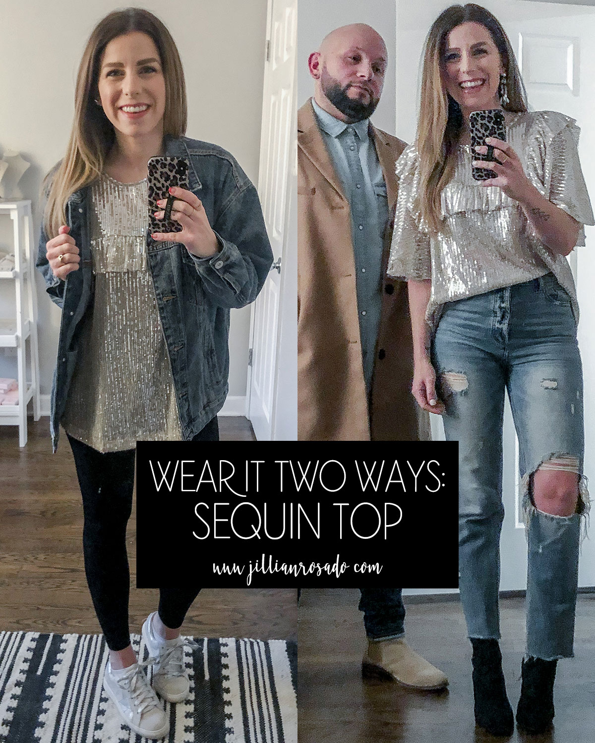 Emerson Charles Sequin Top Free People Dupe Casual Outfit