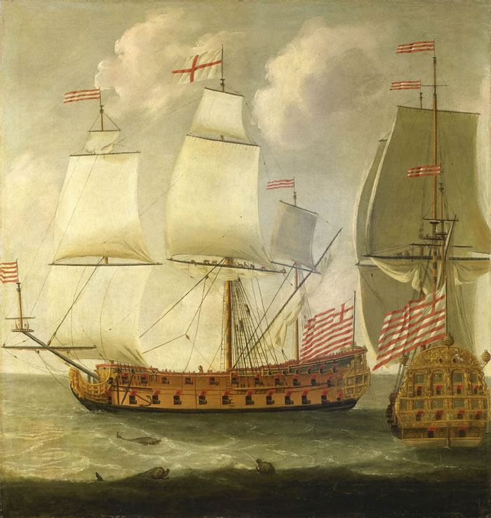 Isaac_Sailmaker_-_Two_Views_of_an_East_Indiaman_of_the_Time_of_King_William_III