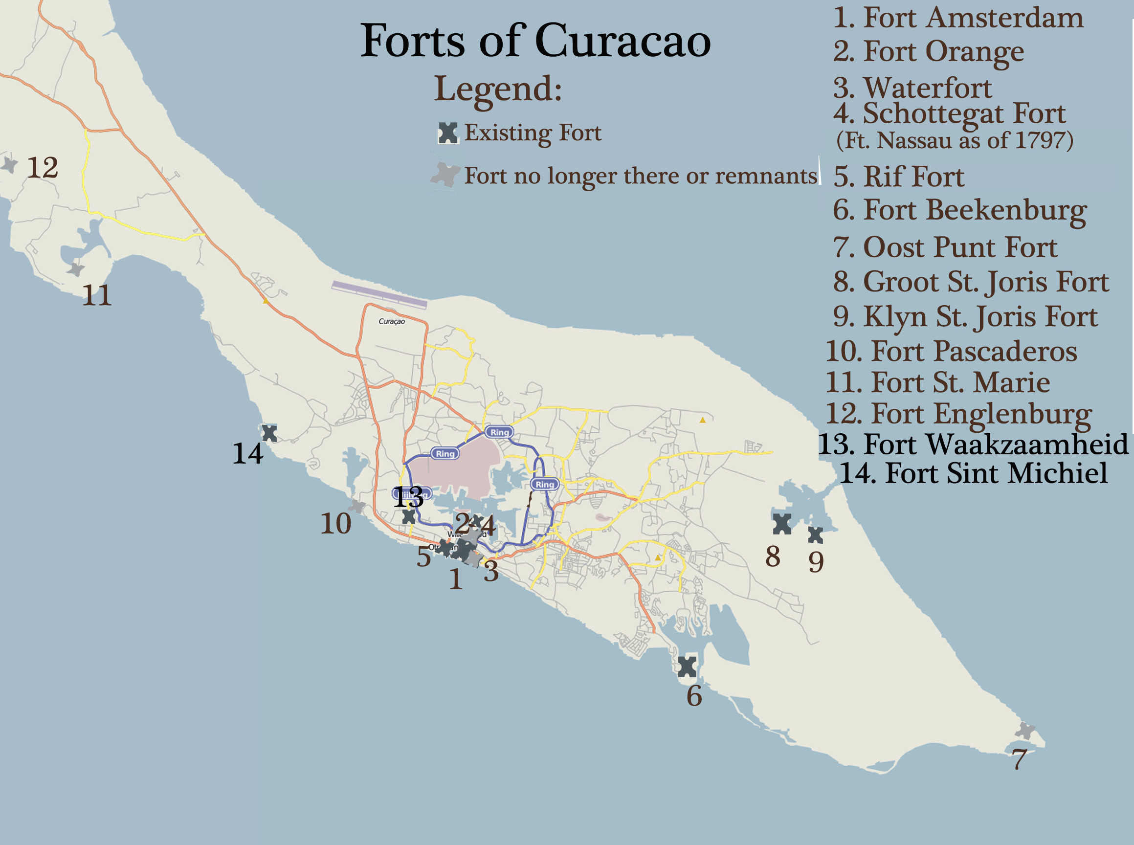 Shields Forts of Curacao