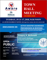 Homeland Security Foundation of America (HSFA) Hosts Town Hall Meeting On Active Shooter Awareness in Columbus, Ohio