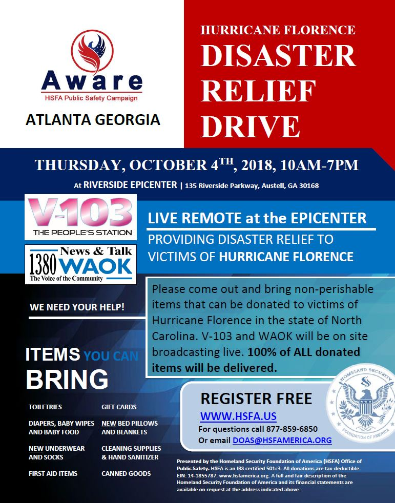 Homeland Security Foundation of America (HSFA) to Conduct Hurricane Florence Disaster Relief Drive with V-103 and WAOK 1380 at the Riverside EpiCenter in Austell, Georgia