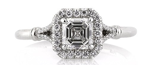 Mark Broumand 1.16ct Asscher Cut Diamond Engagement Ring