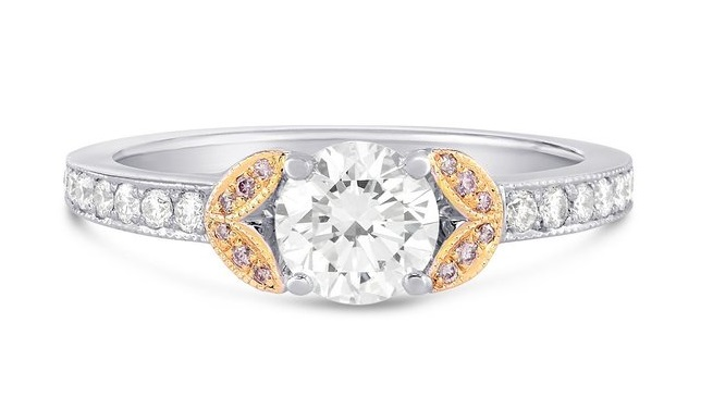0.9Cts Colorless Diamond Side Stone Ring Set in 18K White Rose Gold GIA Cert From Leibish & Co