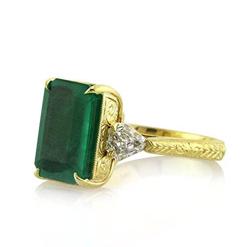 6.35ct Emerald and Diamond Three-Stone Ring