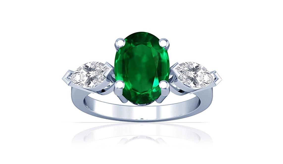 Platinum Oval Cut Emerald Three Stone Ring (GIA Certificate)