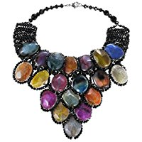 Egyptian Princess Reconstructed Multicolor Agate Drape Necklace