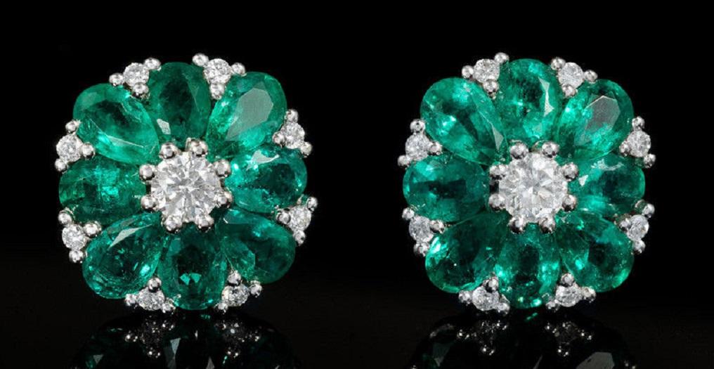 Diamond and Emerald 18k White Gold Cluster Earrings