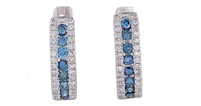 14K White Gold White Diamond and Blue Diamond Tiny Round Hoop Earrings