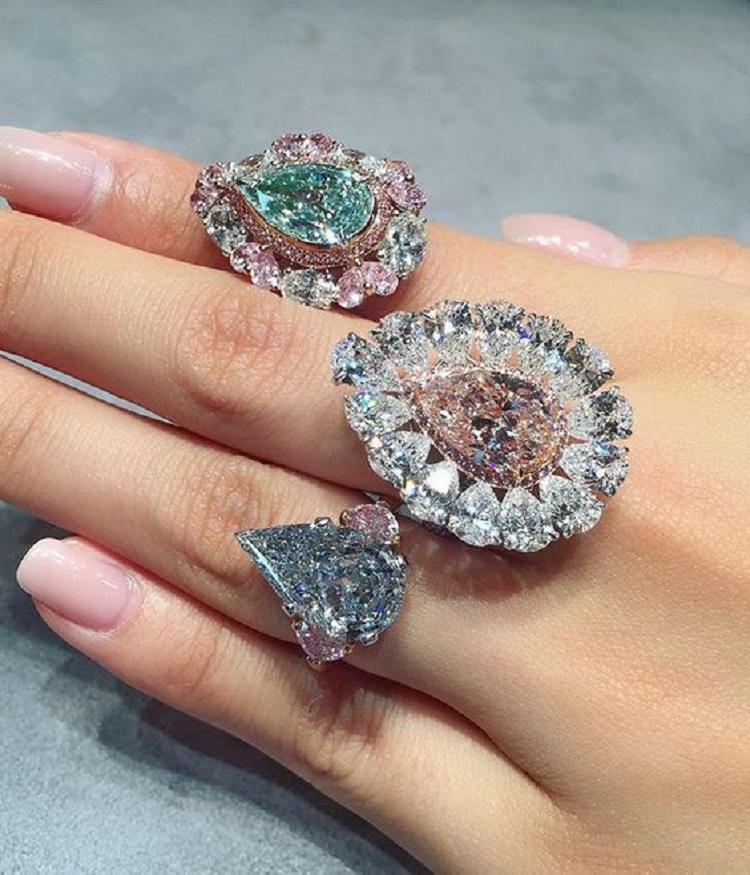 Colored Diamond Rings by Cartier