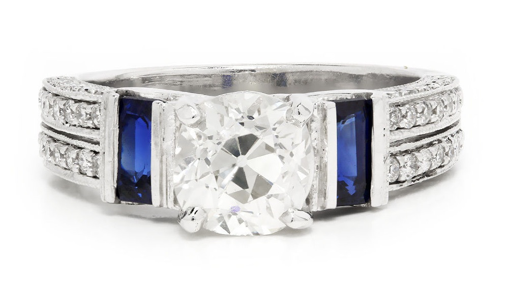 Old Mine Cushion Cut Diamond Engagement Ring with Sapphires 14K White Gold 2.00ctw