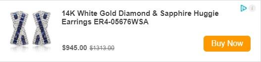 14K White Gold Diamond & Sapphire Huggie Earrings