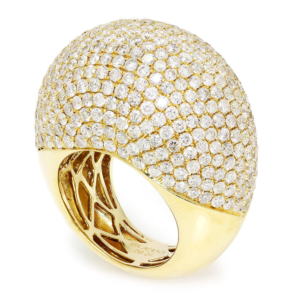 Round Diamond Cluster Dome Ring 18K Yellow Gold 8.04ctw