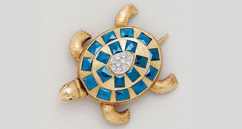Sapphire, Diamond and 14K Gold Turtle Brooch