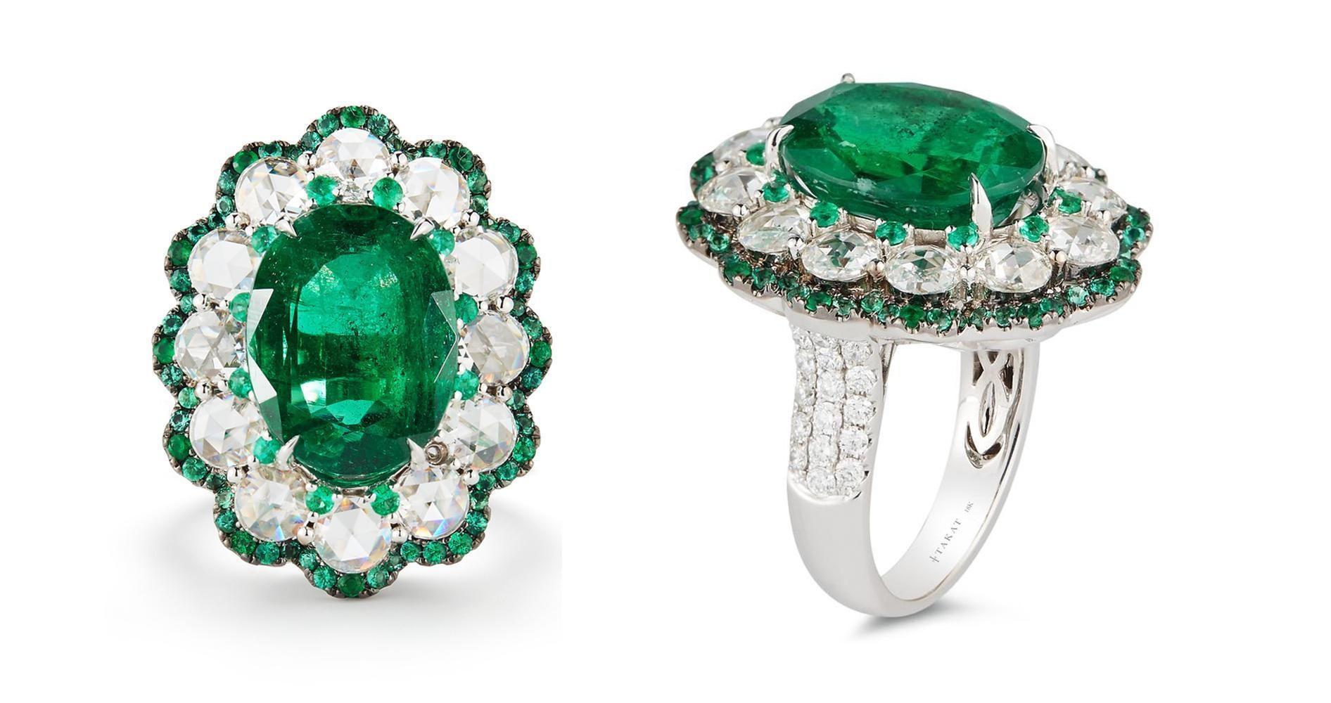 6.07 Carat Natural Green Oval Emerald & Rose Cut Diamonds 18k White Gold Ring