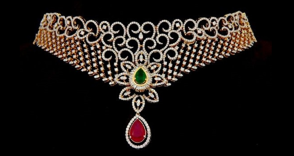 Emerald, Ruby and Diamond Choker Necklace