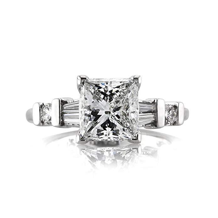 Mark Broumand 2.42ct Princess Cut Diamond Engagement Ring
