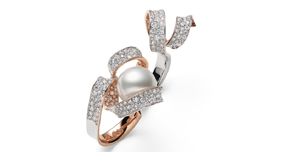 A gorgeous White South Sea Cultured Pearl and Diamond 18K White Gold Ring by Mikimoto