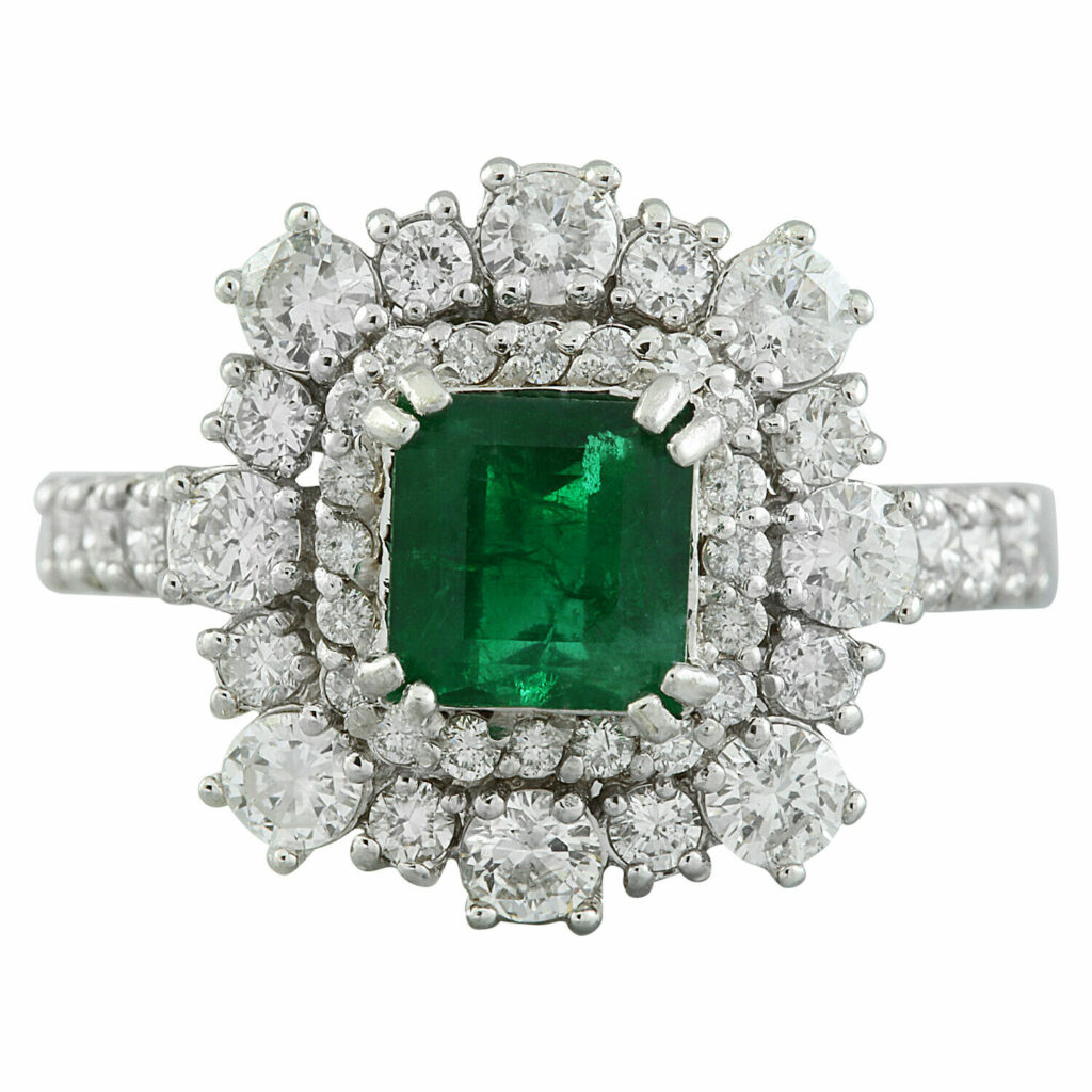 2.30 Carat Natural Emerald 18K Solid White Gold Luxury Diamond Ring