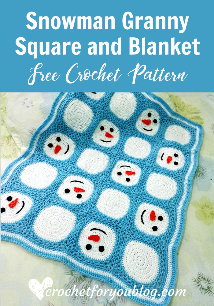 Snowman Granny Square and Blanket - free crochet pattern