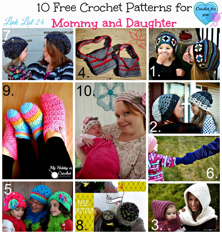 Link List 24 Crochet Patterns for Mommy and Daughter