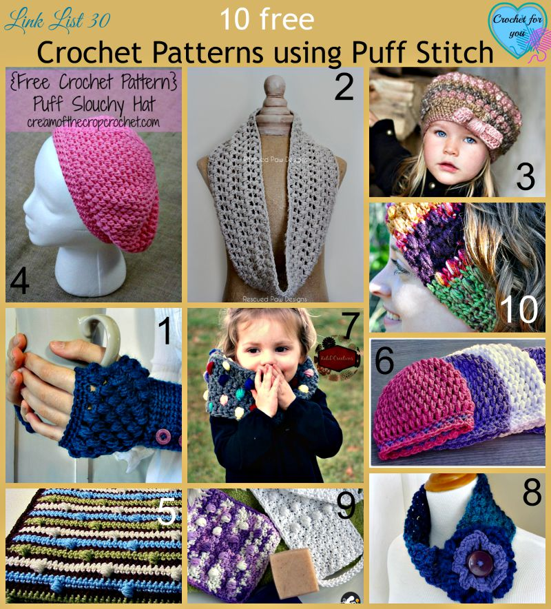10 free Crochet Patterns using Puff Stitch
