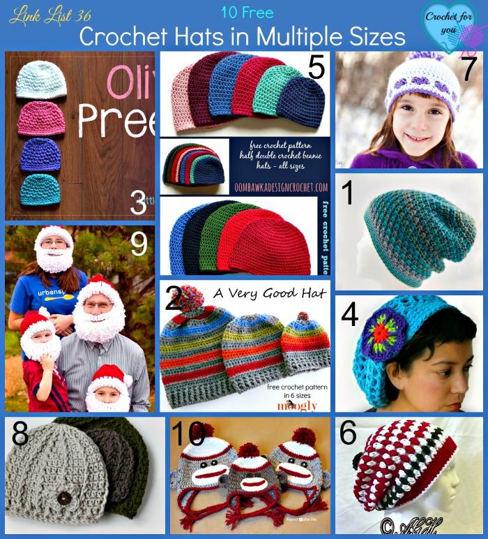 10 Free Crochet Hats in Multiple Sizes