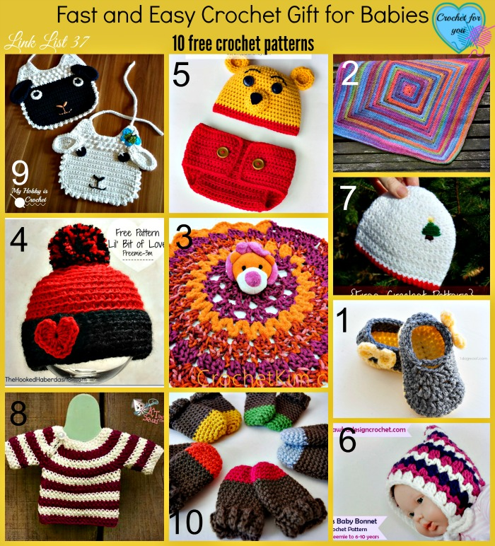 Fast and Easy Crochet Gift for Babies - 10 free crochet patterns