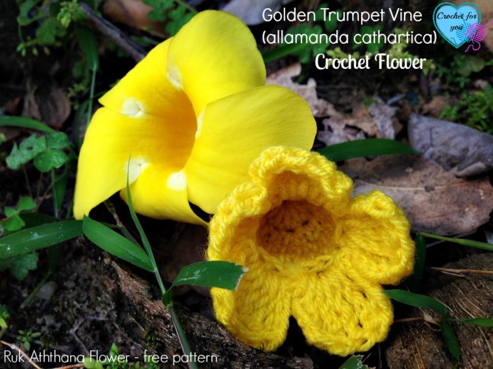 Free Crochet Flower Pattern - Golden Trumpet Vine