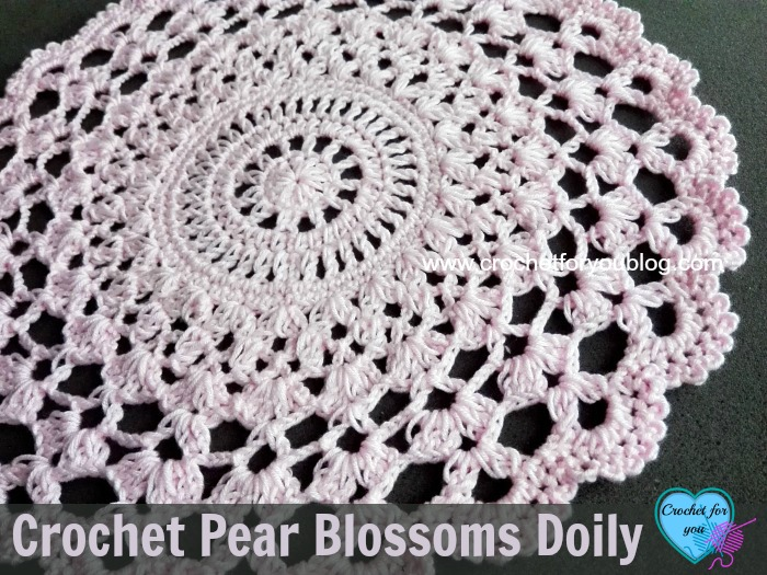 Crochet Pear Blossoms Doily - free pattern