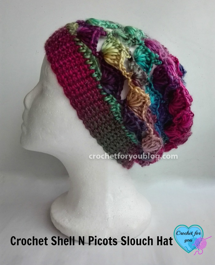 Crochet Shell N Picots Slouch Hat - free pattern