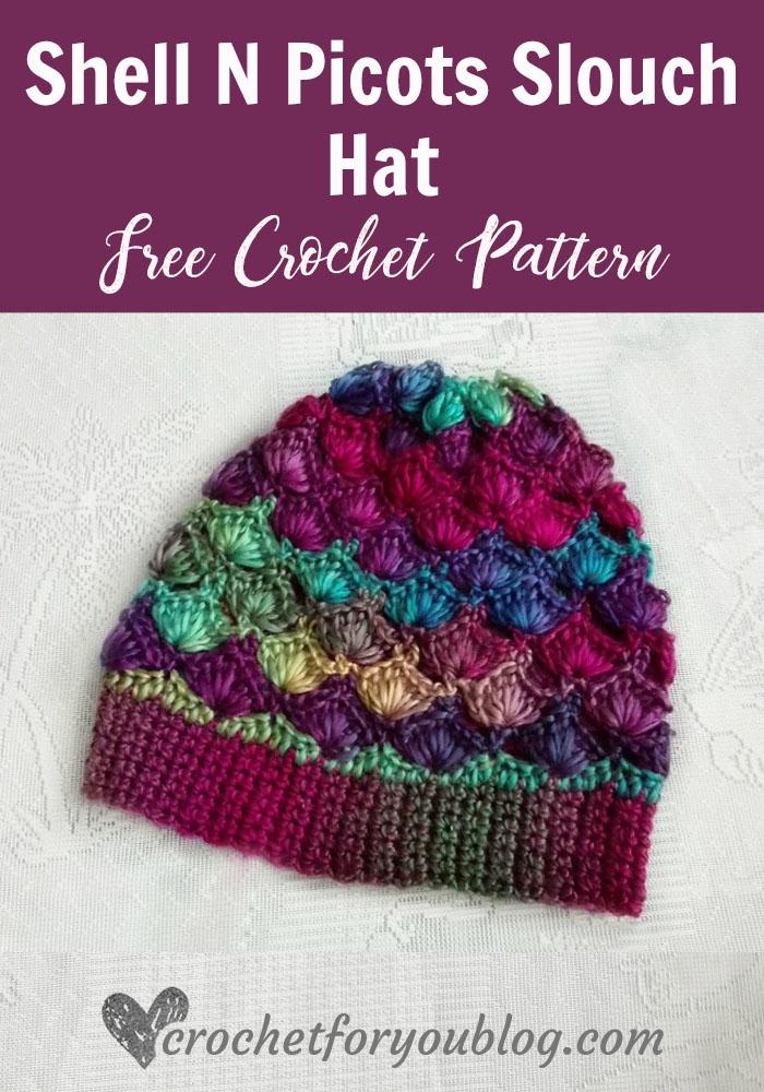 Shell N Picots Slouch Hat - free crochet pattern