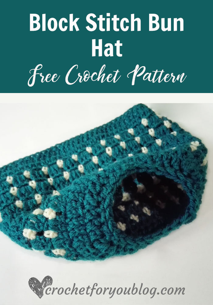 Block Stitch Bun Hat - free crochet pattern