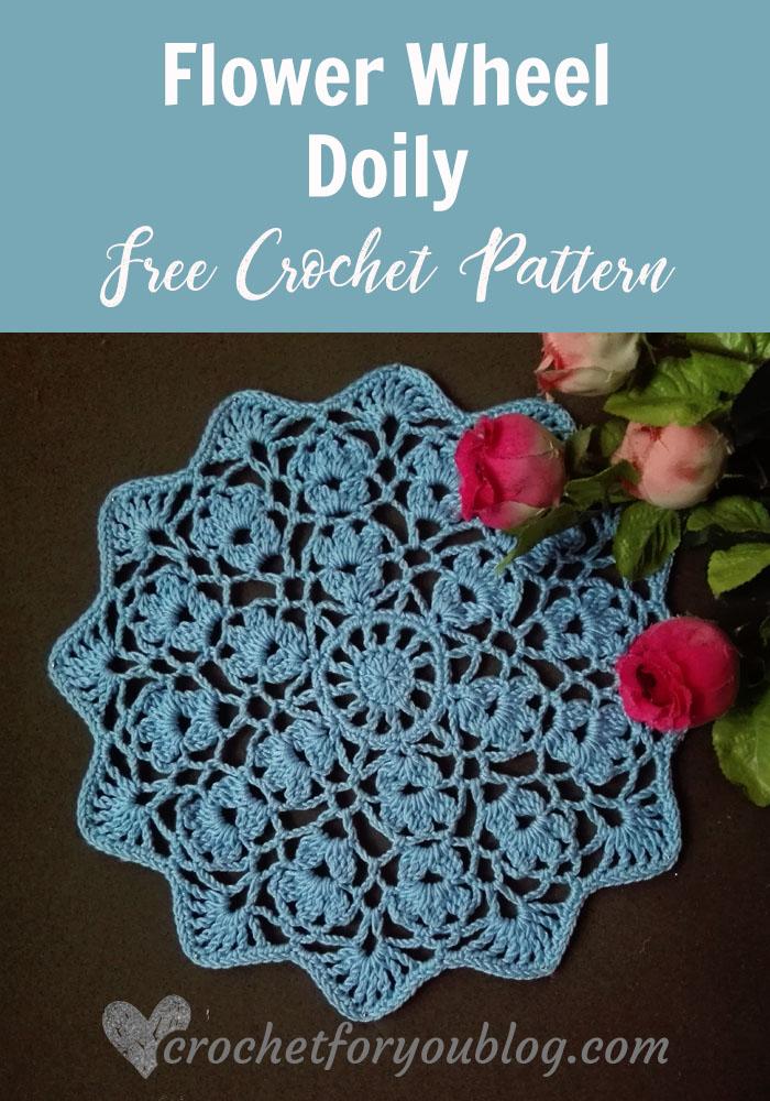 Flower Wheel Doily - free crochet pattern