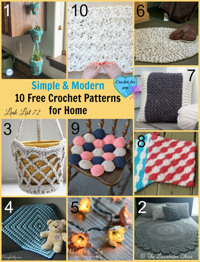 Simple & Modern 10 Free Crochet Patterns for Home