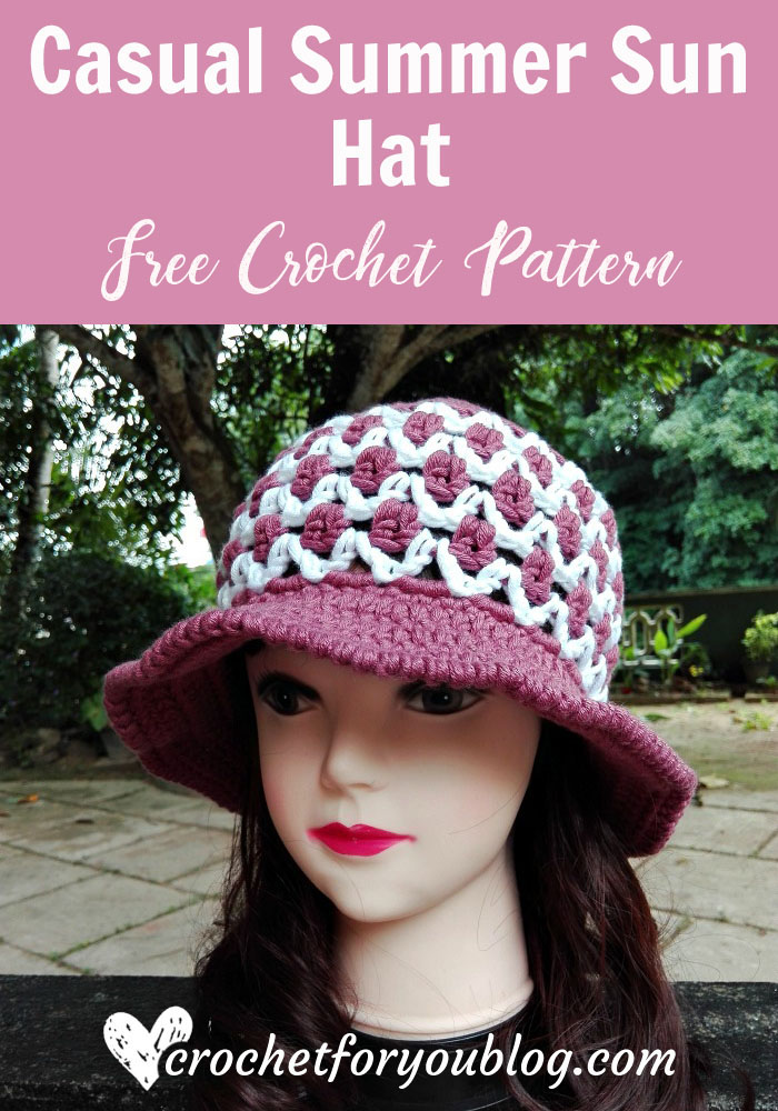Casual Summer Sun Hat - free crochet pattern